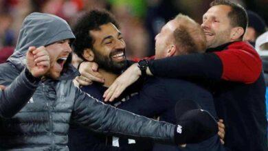 فرحة محمد صلاح ويورجن كلوب بالفوز على برشلونة في دوري ابطال اوروبا 2019 (صور: AFP)