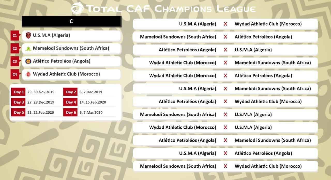 جدول مباريات المجموعة الثالثة الوداد وصن داونز دوري ابطال افريقيا 2020-2019 (صور: Twitter)
