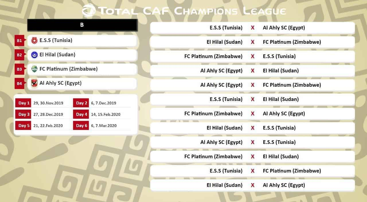 جدول مباريات المجموعة الثانية الأهلي النجم الهلال دوري ابطال افريقيا 2020-2019 (صور: Twitter)