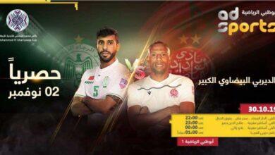 ديربي العرب بين الرجاء والوداد في دور ال16 من البطولة العربية للأندية 2019 (صور: AD sport TV)