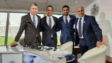 خالد بيومي وزبير بية في ستوديو قناة أبو ظبي الرياضية في مباراة الرجاء الوداد (صور: Twitter)