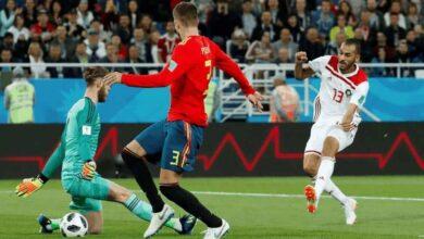 خالد بوطيب في مباراة المغرب واسبانيا خلال كأس العالم 2018 (صور: AFP)