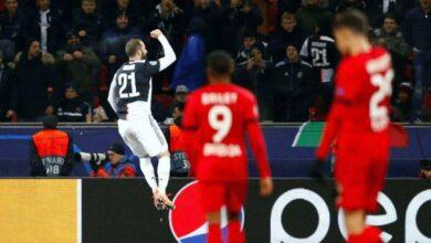 فرحة جونزالو هيجواين بهدفه في مباراة باير ليفركوزن ويوفنتوس في ختام دور مجموعات دوري ابطال اوروبا (صور: AFP)