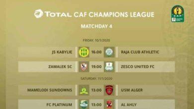 صورة جدول مواعيد ونتائج مباريات مجموعات دوري أبطال أفريقيا 2020-2019