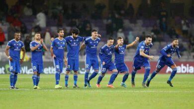 فرحة لاعبي فريق النصر بالفوز على العين والوصول لنهائي كأس الامارات (صور:twitter)
