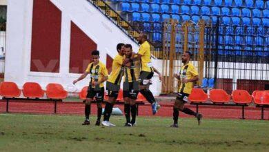 احتفال لاعبي المقاولون العرب بالفوز على الاتحاد فى الدوري المصري على ملعب الاسكندرية (صور:twitter)