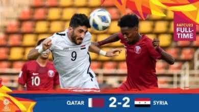 صورة سوريا تتعادل مع قطر في الوقت القاتل بافتتاح مجموعة الموت في كأس آسيا تحت 23 عامًا