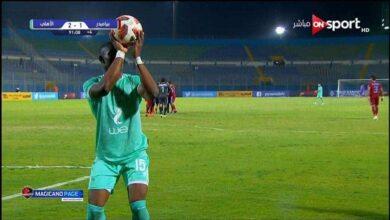 احتفال لاعب الاهلي السنغالي بادجي بهدف الفوز امام بيراميدز فى الدوري (صور:twitter)