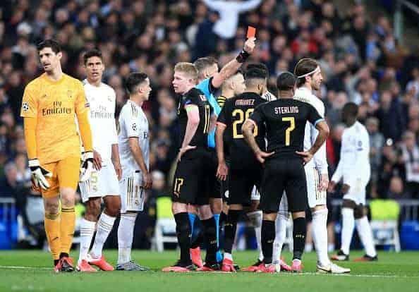 طرد راموس فى مباراة ريال مدريد ومانشستر سيتي بدوري الابطال (صور:Getty)