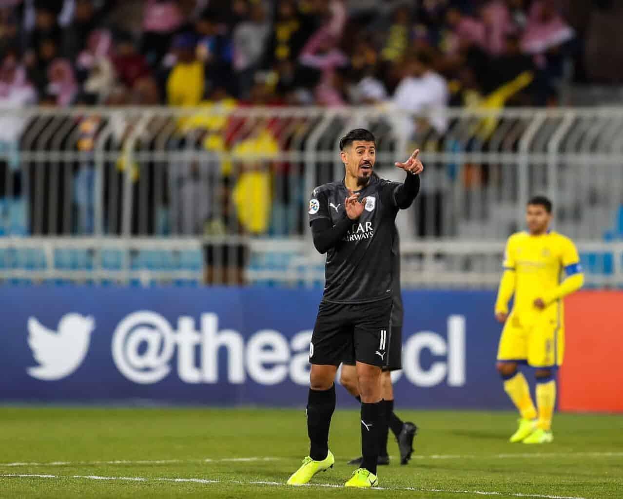 فرحة بغداد بونجاح في مباراة النصر والسد في دوري ابطال اسيا (صور: AFC Twitter)