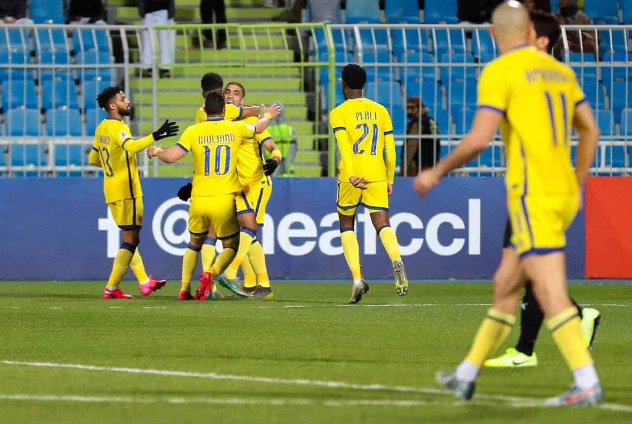 لاعبو النصر يحتفلون بعد التسجيل أمام السد في دوري أبطال آسيا 2020 (صور: AFC Twitter)