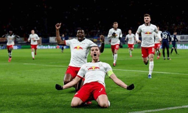 احتفال مارسيل لاعب لايبزيج بتسجيل هدف فى مرمي توتنهام فى دوري الاباطال 2020