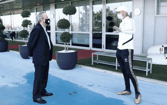 فلورنتينو بيريز يزور تدريبات ريال مدريد تحت حصار كورونا ويقابل زيدان