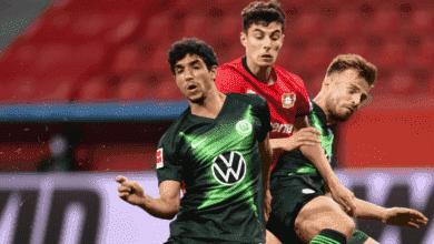 أول مشاركة للاعب المصري عمر مرموش مع نادي فولفسبورج في الدوري الألماني أمام ليفركوزن في شهر مايو 2020