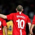 كريستيانو رونالدو وواين روني وكارلوس تيفيز بقميص مانشستر يونايتد