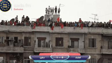 جمهور الاتحاد السوري يواصل تشجيع فريقه من فوق أسطح المنازل
