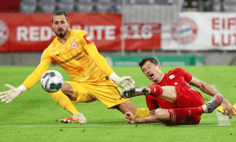 ليفاندوفسكي يشارك في أهداف مباراة بايرن ميونخ وآينتراخت فرانكفورت في كأس ألمانيا