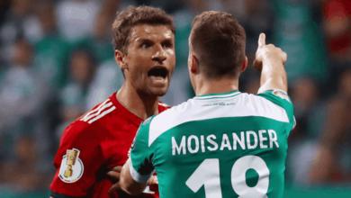 توماس مولر في مباراة بايرن ميونخ وبريمن في الدوري الالماني