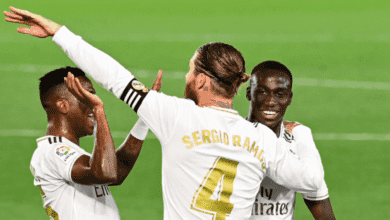 راموس يحتفل بهدفه مع ريال مدريد امام ريال مايوركا