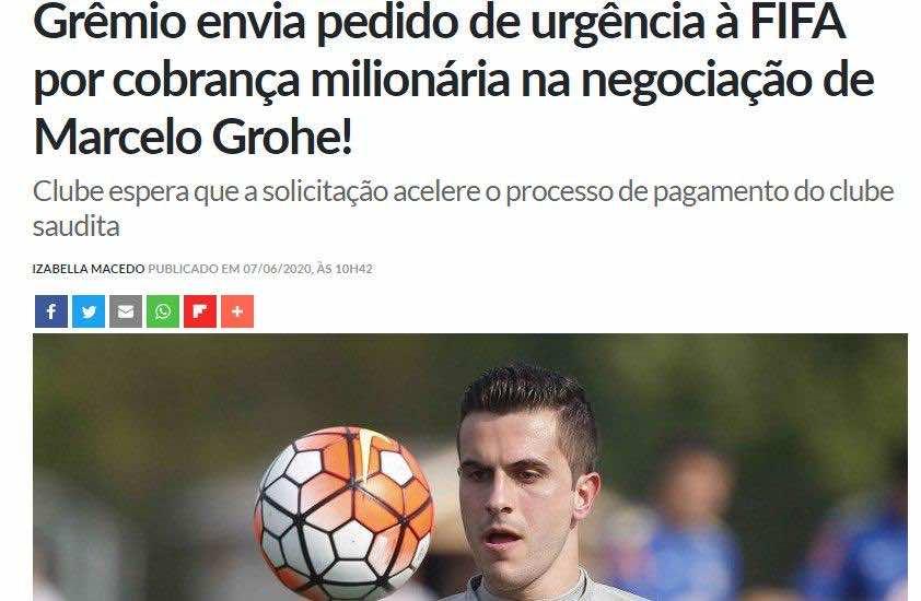 جريميو يُهدد اتحاد جدة بطلب عاجل إلى الفيفا