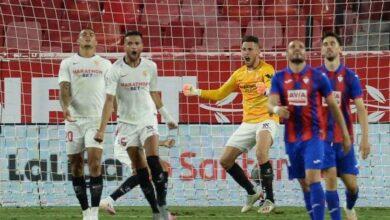 مباراة اشبيلية وايبار فى الدوري الاسباني (صور:AFP)
