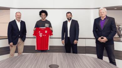بايرن ميونخ يكشف رقم قميص ساني، ويقدم اعتذارًا رسميًا لمانشستر سيتي