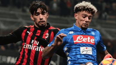 باكيتا في مباراة ميلان ونابولي في الدوري الايطالي