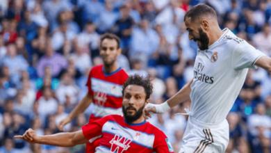 كريم بنزيمة في مباراة ريال مدريد وغرناطة في الدوري الاسباني