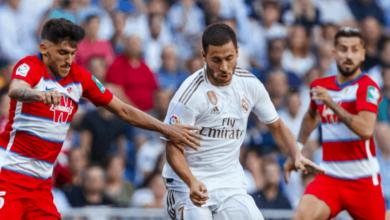 إدين هازارد في مباراة ريال مدريد وغرناطة في الدوري الاسباني - صور Getty