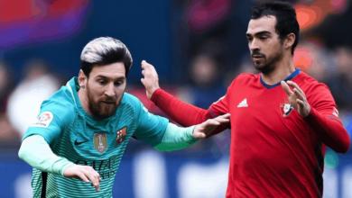 ليونيل ميسي في مباراة برشلونة وأوساسونا في الدوري الاسباني