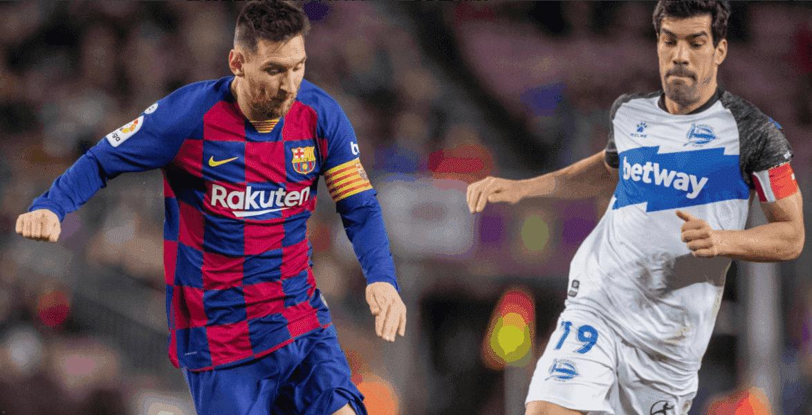 ليونيل ميسي في مباراة برشلونة وآلافيس في الدوري الاسباني
