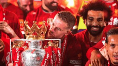 هندرسون في احتفالات ليفربول بلقب الدوري الانجليزي 2020 - صور Getty
