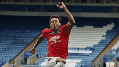 جيسي لينجارد يسجل أول هدف له مع مانشستر يونايتد في موسم 2020/2019 أمام ليستر سيتي في الدقيقة الأخيرة من الدوري الانجليزي
