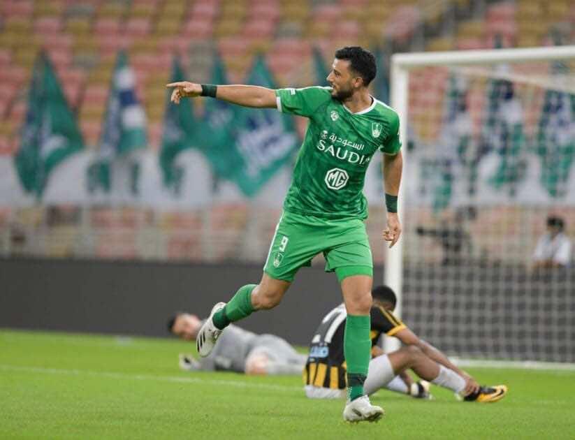 عمر السومة - أهداف مباراة الأهلي والاتحاد في الدوري السعودي (صور:twitter)