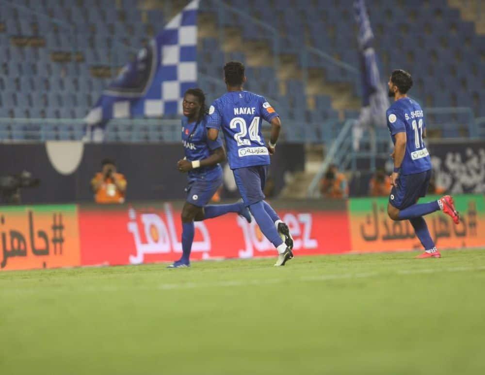 جوميز يحتفل بتسجيل هدفه الثاي فى مباراة فوز الهلال على الفتح فى الدوري السعودي (صور:twitter)