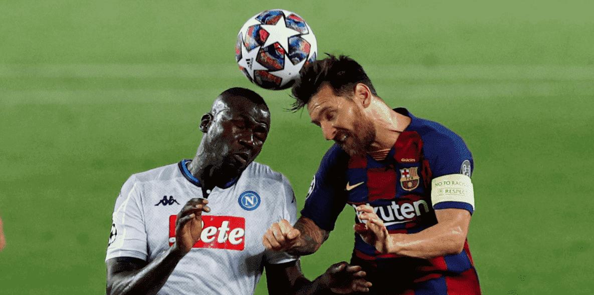 كوليبالي فشل في التعامل مع ميسي أثناء مباراة برشلونة ونابولي باياب ثمن نهائي دوري ابطال اوروبا
