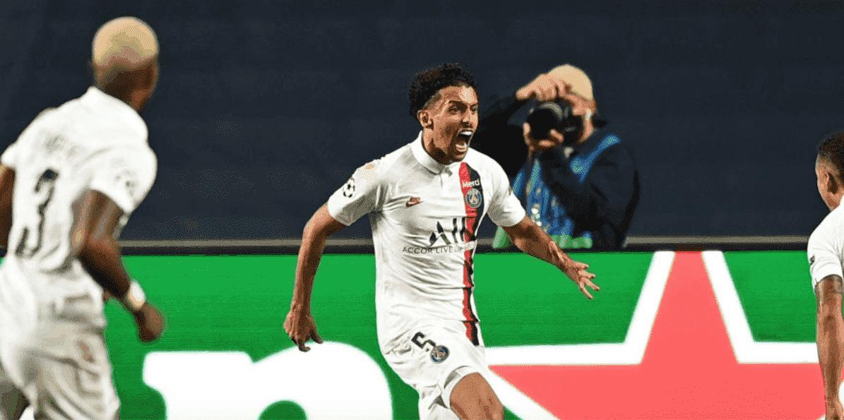 احتفال ماركينيوس بهدف التعادل في مباراة باريس سان جيرمان واتلانتا في ربع نهائي دوري ابطال اوروبا - صور Getty