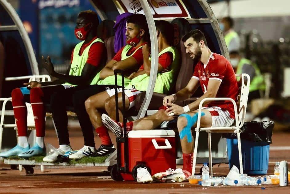 محمود متولي بعد خروجه مصابًا من مباراة أسوان