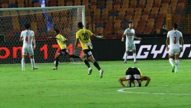 لاعبو المقاولون العرب يحتفلون بهدف التقدم على الزمالك
