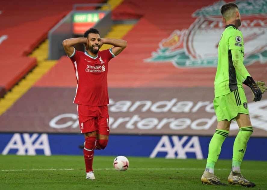 احتفال صلاح بتسجيل هدف الفوز فى مباراة ليفربول وليدز بالبريميرليج (صور:AFP)