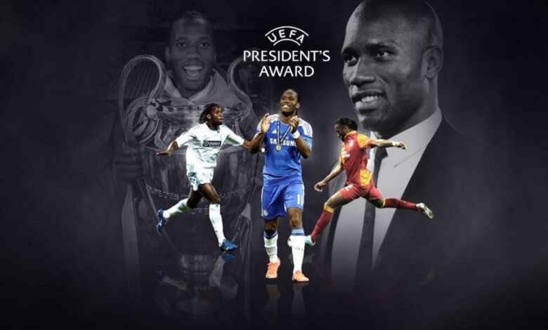 الأسطورة ديدييه دروجبا يحصل على جائزة رئيس الاتحاد الأوروبي لكرة القدم 2020