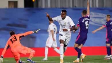 """صورة ملخص مباراة ريال مدريد وبلد الوليد في الدوري الإسباني """"كورتوا يتألق، وفينيسيوس يسجل"""""""