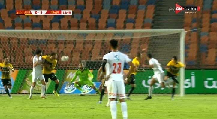 صور مباراة الزمالك والانتاج الحربي - لحظة تسجيل مصطفى محمد الهدف الأول
