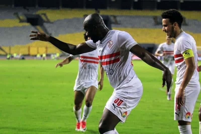 صور مباراة الزمالك وسموحة - احتفال كابونجو كاسونجو بتسجيل الهدف الاول