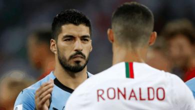 لويس سواريز وكريستيانو رونالدو في مباراة أوروجواي والبرتغال في كأس العالم 2018 - صور Getty