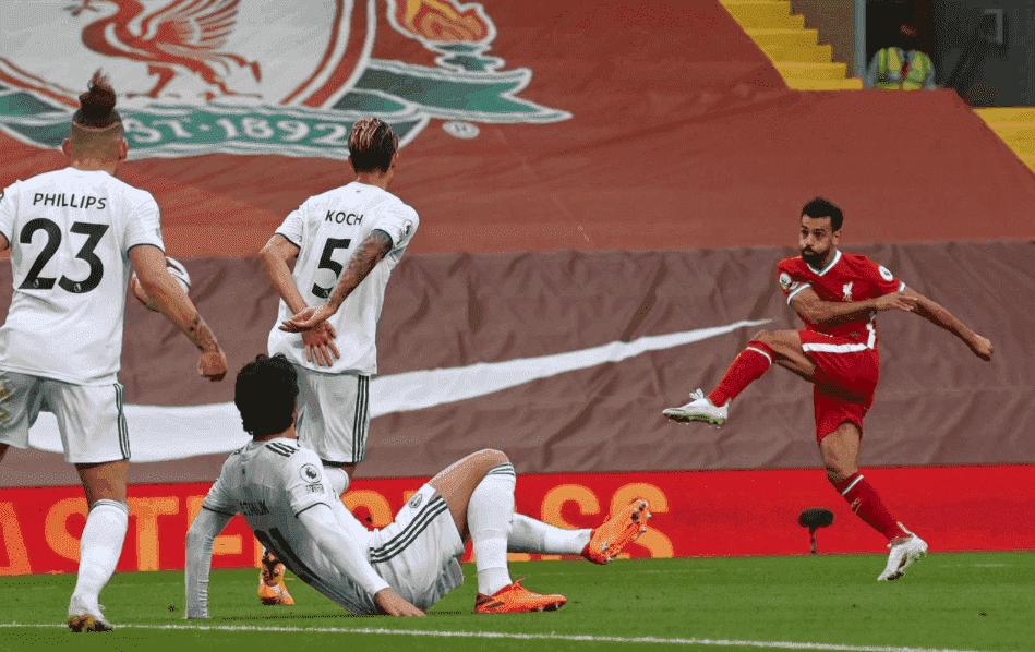 تصويبة صاروخية من محمد صلاح تنتهي لهدف في مباراة ليفربول وليدز يونايتد