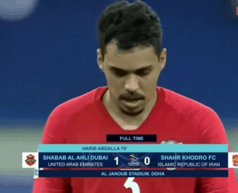 كارلوس إدواردو في مباراة اهلي دبي وشاهر في دوري ابطال اسيا