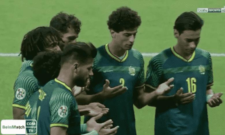 احتفال سعود ناطق بهدفه في مباراة الشرطة العراقي واهلي جدة السعودي