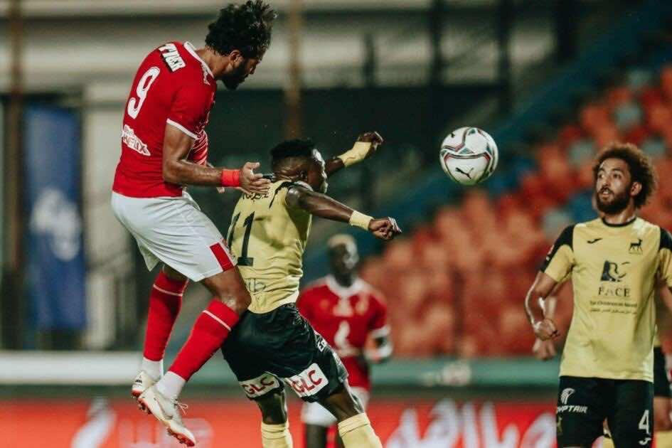 رأسية مروان محسن في مباراة الاهلي ووادي دجلة التي انتهت بهدف جميل بعد عرضية جيرالدو