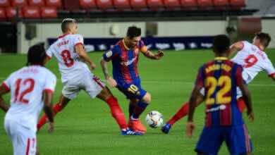 ليونيل ميسي - مباراة برشلونة واشبيلية فى الليجا (صور:AFP)